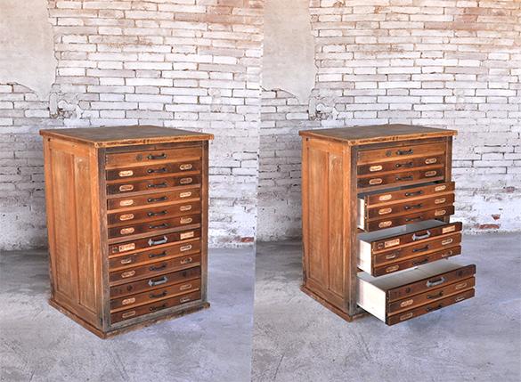 Cassettiera vecchia tipografia design industriale - Recupero mobili vecchi ...