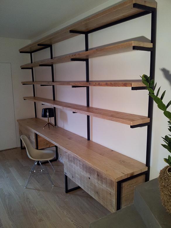 Libreria design industriale sestini corti - Mobili con legno di recupero ...